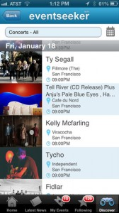 eventseeker for iPhone